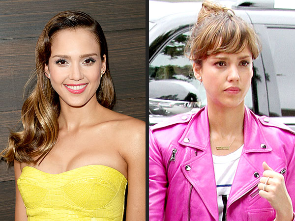 Jessica Alba bangs hairstyle photo