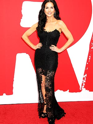 Catherine Zeta-Jones black lace dress