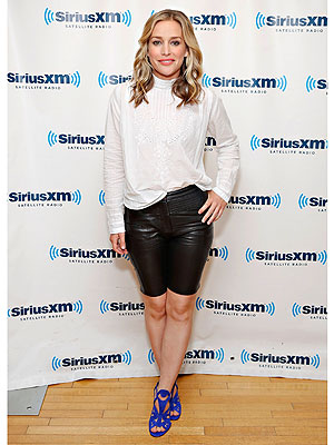 Piper Perabo leather shorts