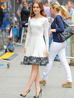 Lily Colins white dress