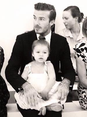 Harper Beckham and David Beckham at Fashion Week