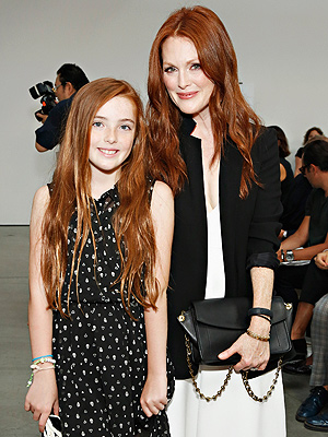 Julianne Moore and her daughter Liv at New York Fashion Week