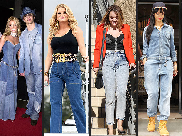 Miley Cyrus denim style jeans photo
