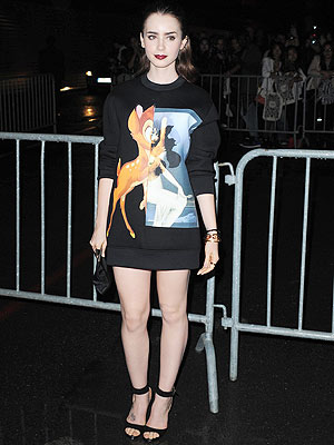 lilly collins 1 300x400 Are You Loving Lily Collinss Bambi Sweatshirt ... As a Dress?!