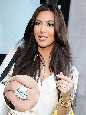 kim kardashian 300x400 Kim Kardashians 20 Plus Carat Engagement Ring Sells For Less Than Half Of What It Cost