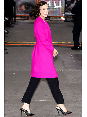 nAtalie Portman pink coat