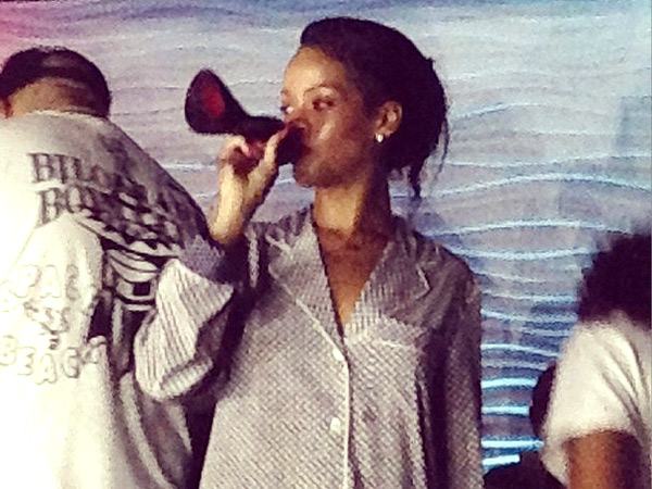 Rihanna drinks out of shoe