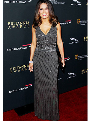 Salma Hayek Bafta Red Carpet Gown
