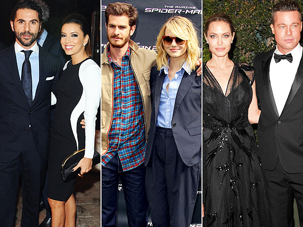 Eva Longoria, Jose Antonio Baston, Emma Stone, Andrew Garfield, Angelina Jolie, Brad Pitt, couples style