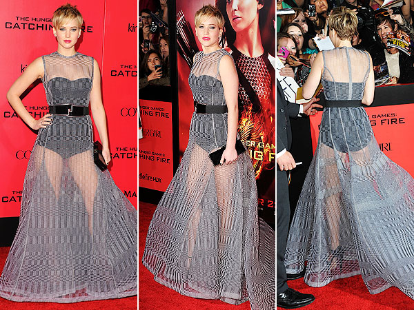 Jennifer Lawrence sheer Christian Dior dress Catching Fire L.A. premiere