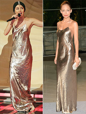 Miley Cyrus and Nicole Richie Marc Jacobs gown