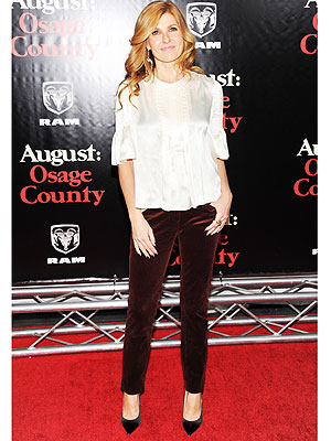 Connie Britton velvet pants