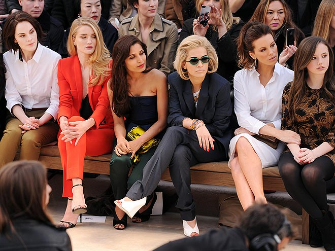 BURBERRY FRONT ROW photo | Freida Pinto, Kate Beckinsale, Michelle Dockery, Rosie Huntington-Whiteley