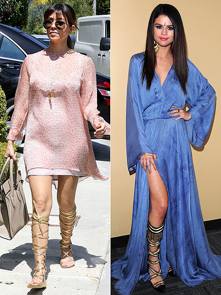KNEE-HIGH GLADIATOR SANDALS photo | Khloe Kardashian, Selena Gomez