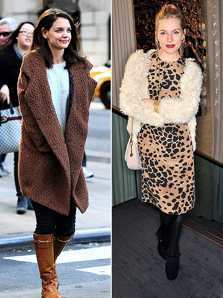 FURRY-BUT-NOT-FUR COATS photo | Katie Holmes, Sienna Miller