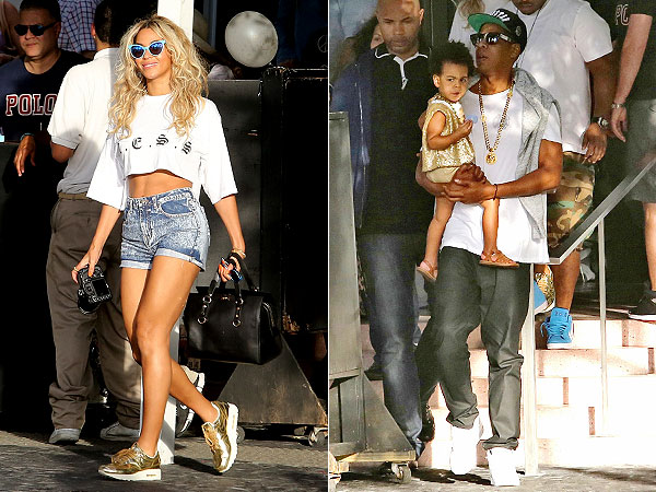 Beyonce gold sneakers Miami Blue Ivy gold vest