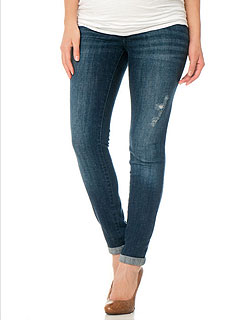 Motherhood Maternity Destructed Straight Leg Maternity Jeans