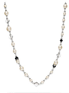 Charter Club Silver Pearl and Jet Bead Long Necklace Macy's