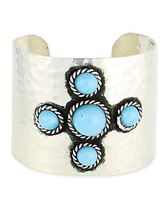 Pink Mascara Z Designs Hammered Turquoise Bead Cuff in Silver