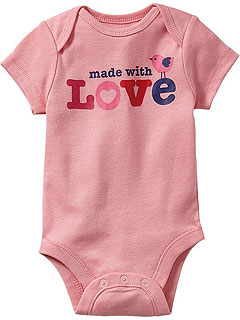 Old Navy Heart-Print Onesie