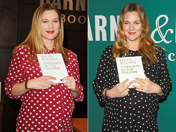 Drew Barrymore Pregnant Heart-Print Shirt Book Signing Barnes & Nobles