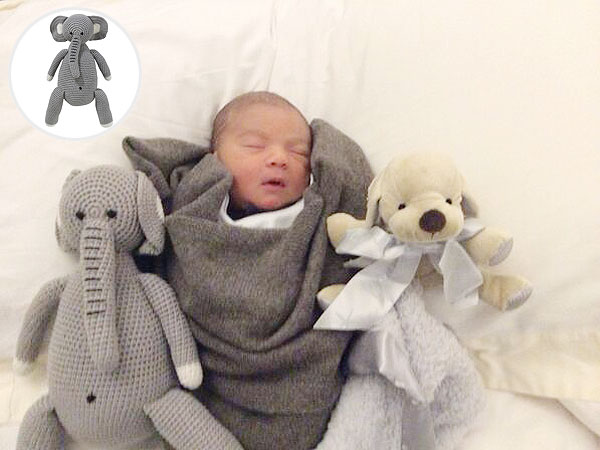 Simon Cowell Son Eric Philip Giggle Crocheted Elephant Barefoot Dreams Puppy Blanket Buddy
