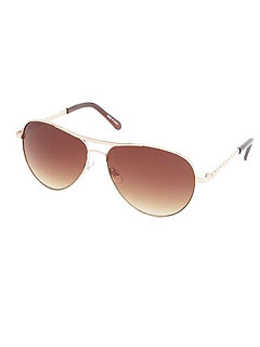 Charlotte Russo Quilted Metal Aviator Sunglasses