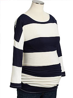 Old Navy Maternity Striped Button Sleeve T-Shirt