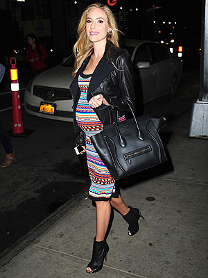 Kristin Cavallari Pregnant Emilio Pucci Stripe Knit Tank Dress Celine Luggage Tote Look for Less