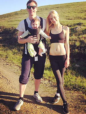 Jaime King with husband and son