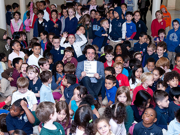 B.J. Novak reading to children