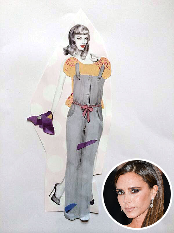 Victoria Beckham Daughter Harper Paper Doll Collage