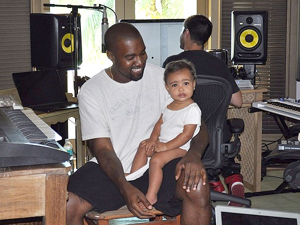 So cute north west joins dad kanye in the studio moms for Kanye west studio