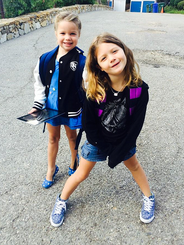 Rebecca Romijn Twin Daughters First Day School