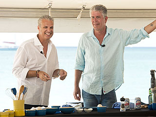 Eric Riper and Anthony Bourdain at Cayman Cookout