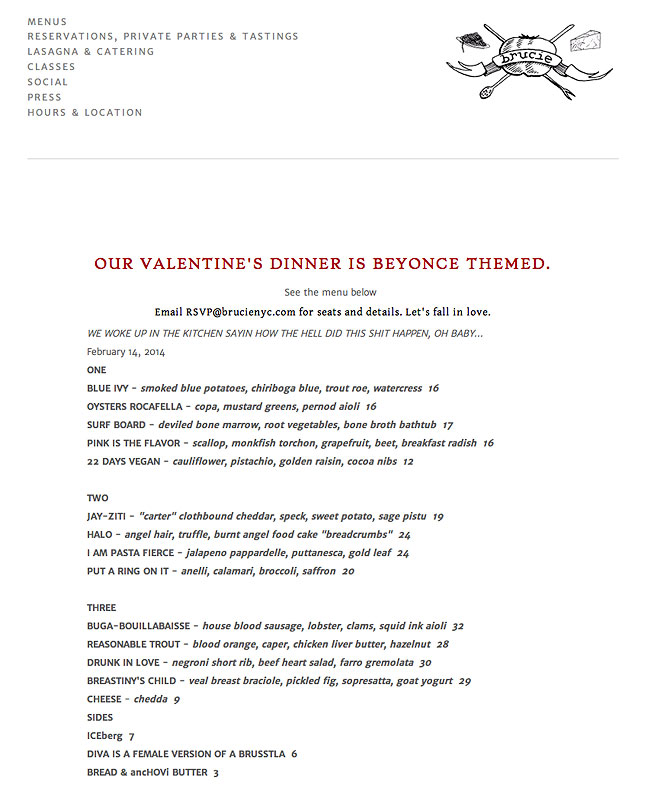 Beyonce Valentine's Day Menu