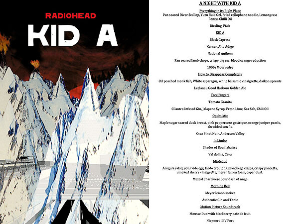 Radiohead Kid A Restaurant Menu