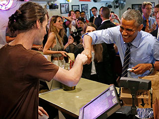 President Obama Cuts Line at Franklin BBQ