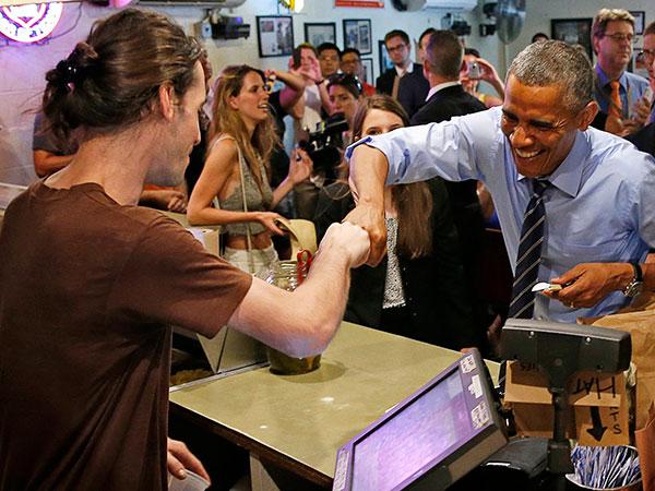 President Obama Cuts Line at Franklin BBQ