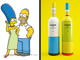 Homer and Marge Simpson Wine Bottles