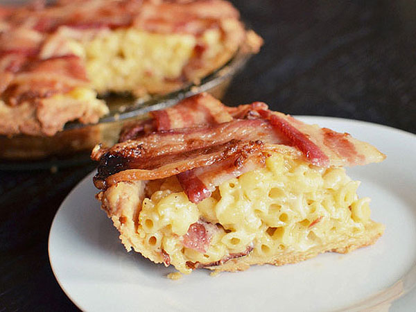 Mac 'n' Cheese Pie with Bacon Lattice Top