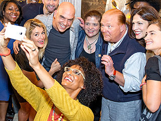 Alex Guarnaschelli, Carla Hall, Mario Batali at Empire State Building