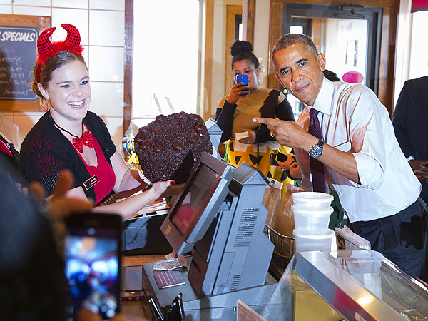 Barack Obama at Gregg's Restaurant