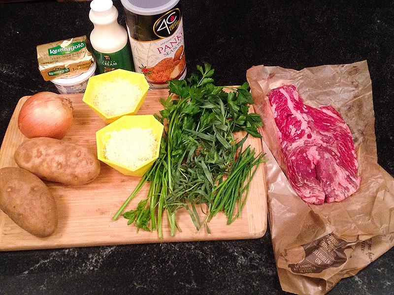 Grilled Hanger Steak with Vidalia Onion Gratin