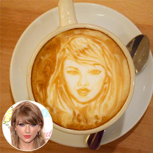Photos of celebrity latte art coffee art how to make for Taylor swift coffee shop