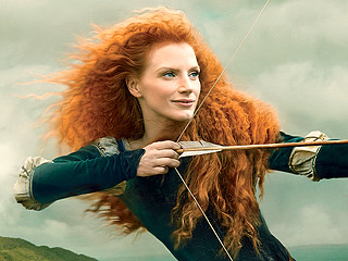 Jessica Chastain Poses As Brave's Merida for Disney