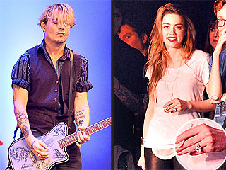 Amber Heard Shows Off Sparkler at Johnny Depp's Charity Rock Show