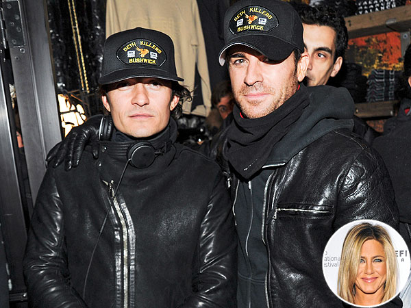 Justin Theroux Has a Boys' Night Out – with Orlando Bloom! – on Jen's Birthday