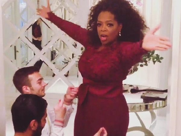 VIDEO: Oprah Winfrey Get Stitched Into Her Dress for the BAFTA Awards