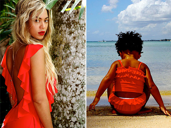 Beyonce Blue Ivy Red Bathing Suits